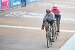 Peter Sagan (SVK) Bora-Hansgrohe and Sep Vanmarcke (BEL) EF Education First enter the Roubaix Velodrome during the 117th edition of Paris-Roubaix 2019, running 257km from Compiegne to Roubaix, France. 14th April 2019<br /> Picture: Thomas van Bracht/PelotonPhotos.com | Cyclefile<br /> All photos usage must carry mandatory copyright credit (&copy; Cyclefile | Thomas van Bracht/PelotonPhotos.com)