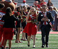 Miranda Koewler and Karsen Kaple react to being named Homecoming Queen and King before the NCAA football game between the Ohio State Buckeyes and the Indiana Hoosiers at Ohio Stadium on Saturday, October 6, 2018. [Jonathan Quilter/Dispatch]