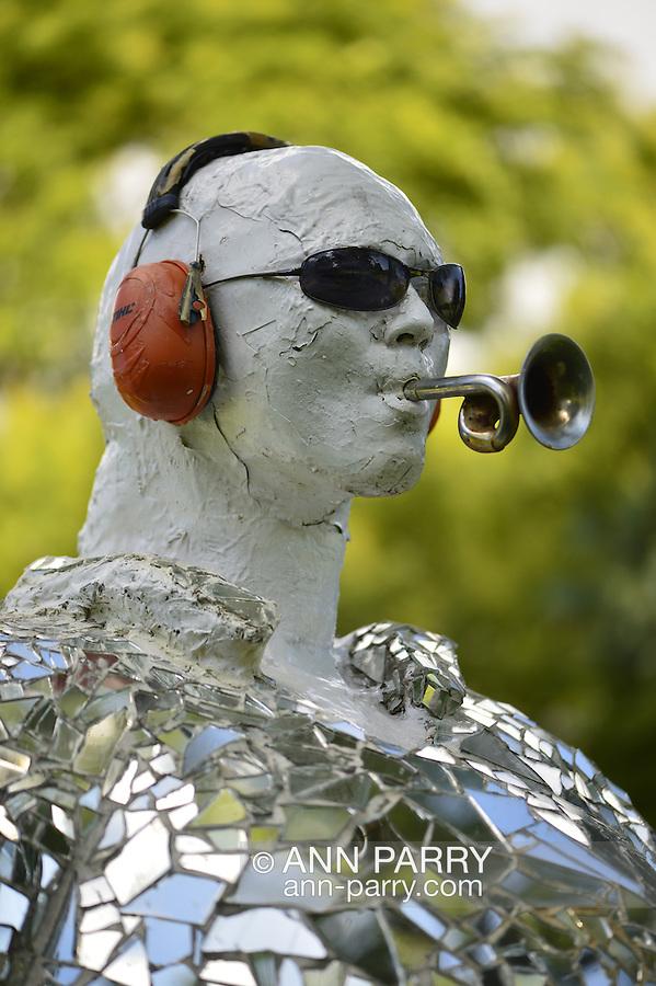 Garden City, New York, U.S. - August 29, 2014 - Adelphi University campus outdoor sculpture  in summer