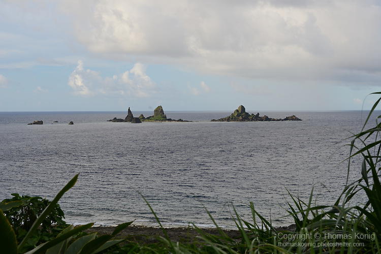 Orchid Island (蘭嶼), Taiwan -- View of Battleship Rock.<br /> <br /> Rumor has it that American naval forces mistook this rock for a Japanese warship during World War 2. It must have been quite a fright to the American sailor when the enemy 'battleship' still didn't sink after some massive shelling!