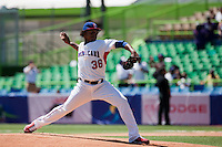 7 March 2009:  #36 Edinson Volquez of The Dominican Republic pitches against The Netherlandsduring the 2009 World Baseball Classic Pool D match at Hiram Bithorn Stadium in San Juan, Puerto Rico. Netherlands pulled off a huge upset in their World Baseball Classic opener with a 3-2 victory over Dominican Republic.