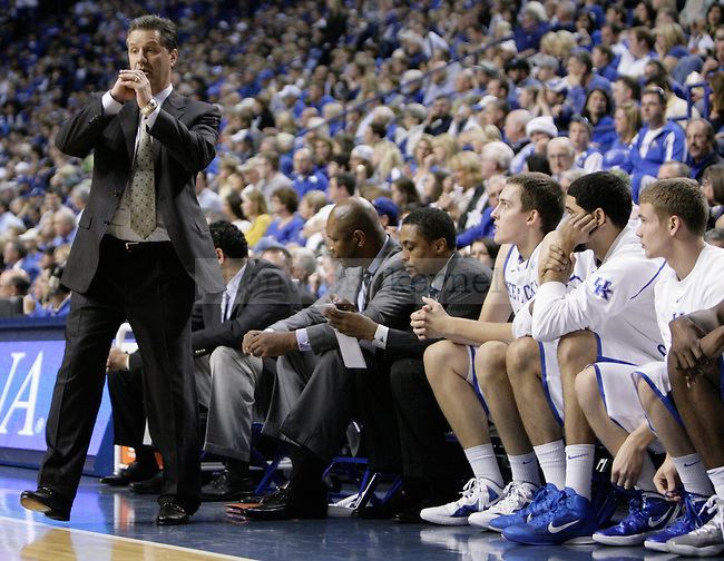 Coach John Calipari instructs his bench against Portland at Rupp Arena on Saturday, Nov. 26, 2011. Photo by Scott Hannigan | Staff