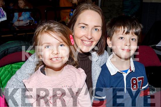 Sean and Meabh O'Brien with mom Leona Twiss O'Brien from Killorglin at the Cinderella Panto in the KDYS Killorglin on Sunday.