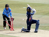 Daniel Bell-Drummond of Kent is bowled by Delray Rawlins during Kent Spitfires vs Sussex Sharks, Vitality Blast T20 Cricket at The Spitfire Ground on 12th September 2020