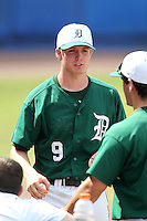 Dartmouth Big Green pitcher Max Langford #9 during a game vs. the Northwestern Wildcats at Chain of Lakes Park in Winter Haven, Florida;  March 20, 2011.  Northwestern defeated Dartmouth 3-2.  Photo By Mike Janes/Four Seam Images