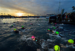 OCEANSIDE, CA - APRIL 7:  Age Group Triathletes swim during the IRONMAN 70.3 Oceanside Triathlon on April 7, 2018 in Oceanside, California. (Photo by Donald Miralle for IRONMAN)