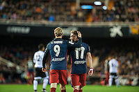 VALENCIA, SPAIN - MARCH 6: Fernando Torres, Saul celebrating his goal during BBVA League match between Valencia C.F. and Athletico de Madrid at Mestalla Stadium on March 6, 2015 in Valencia, Spain