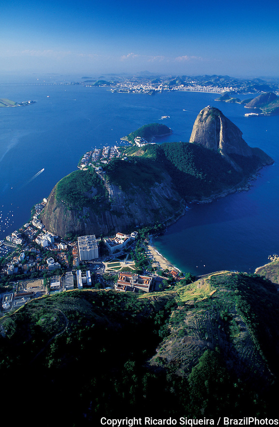 Morro da Urca, Sugar Loaf and Praia Vermelha ( Vermelha beach ), Rio de Janeiro, Brazil - aerial view of the entrance of Guanabara bay with Niteroi city in background.