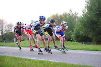 INLINE-SKATEN: STEENWIJK: Gagelsweg (start/finish), Schansweg, Meppelerweg, KPN Inline Cup, Klim van Steenwijk, 02-05-2012, Gerwin Smit (#87), Bart Swings (#61), Karlo Timmerman (#19), ©foto Martin de Jong