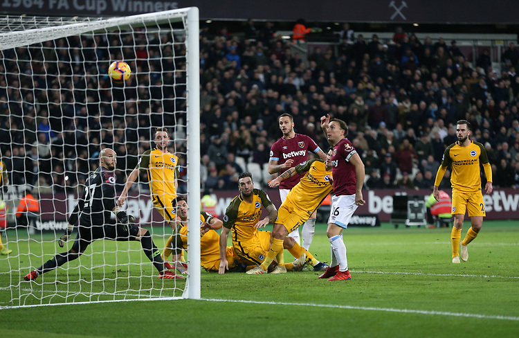 West Ham United's Marko Arnautovic scores his side's second goal <br /> <br /> Photographer Rob Newell/CameraSport<br /> <br /> The Premier League - West Ham United v Brighton and Hove Albion - Wednesday 2nd January 2019 - London Stadium - London<br /> <br /> World Copyright © 2019 CameraSport. All rights reserved. 43 Linden Ave. Countesthorpe. Leicester. England. LE8 5PG - Tel: +44 (0) 116 277 4147 - admin@camerasport.com - www.camerasport.com