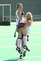 STANFORD, CA - OCTOBER 19:  Heather Alcorn of the Stanford Cardinal is lifted by Chloe Bade during Stanford's 12-0 win over UC Davis on October 19, 2008 at the Varsity Field Hockey Turf in Stanford, California.