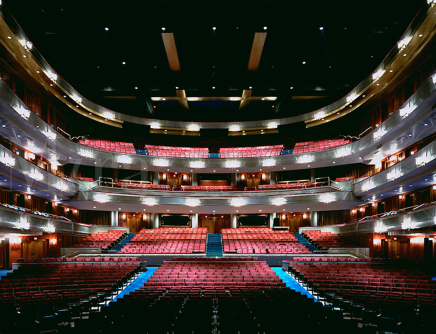 The interior of the Ordway Theater as seen from the stage, looking out over the seating galleries and lighting.