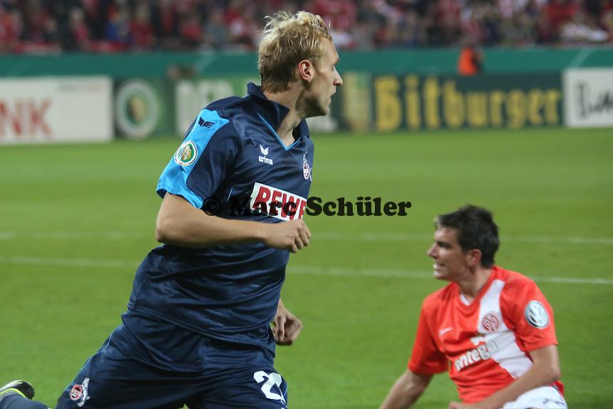 Torjubel Marcel Risse (Köln) beim 0:1- 1. FSV Mainz 05 vs. 1. FC Köln, Coface Arena, 2. Runde DFB-Pokal