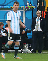Argentina coach Alejandro Sabella watches Lionel Messi
