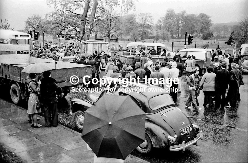 Farmers' blocade, Newtownards Road, in the vicinity of Parliament Building, Stormont, Belfast, N Ireland, during UWC strike. 197405290146.<br /> <br /> Copyright Image from Victor Patterson, 54 Dorchester Park, <br /> Belfast, UK, BT9 6RJ<br /> <br /> t1: +44 28 9066 1296 (from Rep of Ireland 048 9066 1296)<br /> t2: +44 28 9002 2446 (from Rep of Ireland 048 9002 2446)<br /> m: +44 7802 353836<br /> <br /> e1: victorpatterson@me.com<br /> e2: victorpatterson@gmail.com<br /> www.victorpatterson.com<br /> <br /> Please see my Terms and Conditions of Use at www.victorpatterson.com. It is IMPORTANT that you familiarise yourself with them.<br /> <br /> Images used on the Internet must be visibly watermarked i.e. &copy; Victor Patterson<br /> within the body of the image and copyright metadata must not be deleted. Images <br /> used on the Internet have a size restriction of 4kbs and will be chargeable at current<br />  NUJ rates unless agreed otherwise.<br /> <br /> This image is only available for the use of the download recipient i.e. television station, newspaper, magazine, book publisher, etc, and must not be passed on to any third <br /> party. It is also downloaded on condition that each and every usage is notified within 7 days to victorpatterson@me.com<br /> <br /> The right of Victor Patterson to be identified as the author is asserted in accordance with The Copyright Designs And Patents Act (1988).