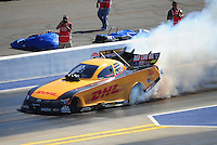 Apr. 14, 2012; Concord, NC, USA: NHRA funny car driver Jeff Arend during qualifying for the Four Wide Nationals at zMax Dragway. Mandatory Credit: Mark J. Rebilas-