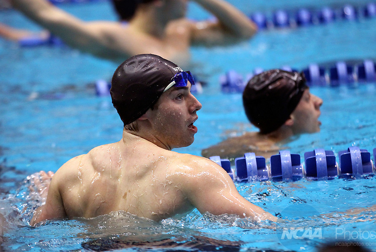24 MAR 2012: Zachary Turk of Kenyon looks up at the scoreboard after winning the men's 100 yard freestyle during the Division III Mens and Womens Swimming and Diving Championship held at the IU Natatorium in Indianapolis, IN. Turk won with a time of 43.16.  Michael Hickey/NCAA Photos