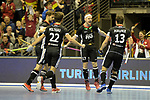 Berlin, Germany, February 10: During the FIH Indoor Hockey World Cup semi-final match between Germany (black) and Iran (white) on February 10, 2018 at Max-Schmeling-Halle in Berlin, Germany. Final score 6-2. (Photo by Dirk Markgraf / www.265-images.com) *** Local caption *** Martin HAENER #6 of Germany, Christopher RUEHR #17 of Germany, Marco MILTKAU #22 of Germany, Tobias HAUKE #13 of Germany