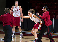 Stanford, CA., March 25, 2013,-Erica Payne works with Stanford women's basketball assistant coach Trina Patterson during team practice for there second round NCAA 2013 basketball championship game against Michigan on Monday, March 25, 2013, at Maples Pavilion.  ( Norbert von der Groeben )