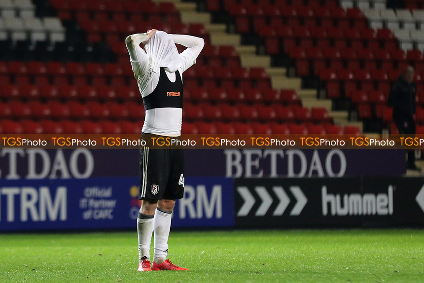 Despair for Fulham at the final whistle after conceding two late goals to lose the match 3-2 during Charlton Athletic vs Fulham Under-21, Checkatrade Trophy Football at The Valley on 1st November 2017
