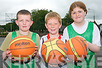 Demonstrating their basketball skills at Team Kerry Camp in Killarney. .L-R Mark McGlynn, Harry Byrne and Hazel McCarthy.