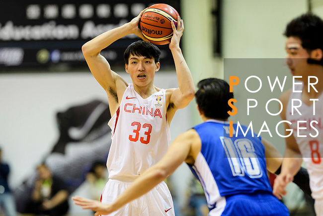 Qian Wu of China (L) in action during the FIBA Basketball World Cup 2019 Asian Qualifier Group A match between Hong Kong and China at Southorn Stadium on February 26, 2018 in Hong Kong. Photo by Marcio Rodrigo Machado / Power Sport Images