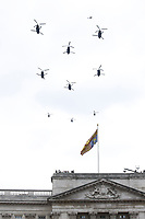 Three Puma HC2 and six Chinook HC4<br /> RAF centenary fly-past at Buckingham Palace, The Mall, London England on July 10, 2018.<br /> CAP/PL<br /> &copy;Phil Loftus/Capital Pictures