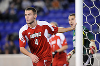 Ryan Smith (4) of the Louisville Cardinals. The Louisville Cardinals defeated the Notre Dame Fighting Irish 1-0 during the semi-finals of the Big East Men's Soccer Championship at Red Bull Arena in Harrison, NJ, on November 12, 2010.