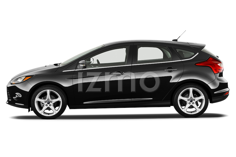 Driver side profile view of a 2012 Ford Focus Hatchback Titanium Stock Photo