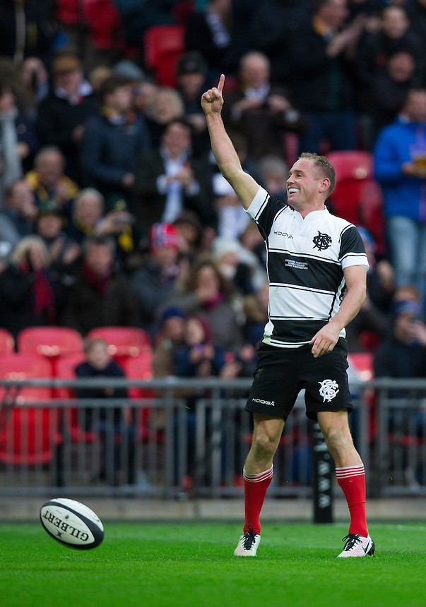 Andy Ellis of the Barbarians celebrates scoring his sides second try   Photographer Craig Mercer/CameraSport<br /> <br /> International Rugby Union Friendly - Barbarians v South Africa - Saturday 5th November 2016 - Wembley Stadium - London<br /> <br /> World Copyright &copy; 2016 CameraSport. All rights reserved. 43 Linden Ave. Countesthorpe. Leicester. England. LE8 5PG - Tel: +44 (0) 116 277 4147 - admin@camerasport.com - www.camerasport.com
