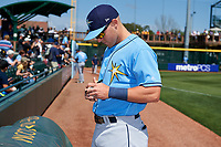 Tampa Bay Rays designated hitter Jake Bauers (70) signs autographs before a Spring Training game against the Pittsburgh Pirates on March 10, 2017 at LECOM Park in Bradenton, Florida.  Pittsburgh defeated New York 4-1.  (Mike Janes/Four Seam Images)