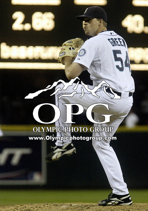 01 August 2007:   Seattle Mariners pitcher Sean Green came into the game in the 10th inning against the Los Angeles Angels at Safeco Field. Seattle won 8-7 in 12 innings.