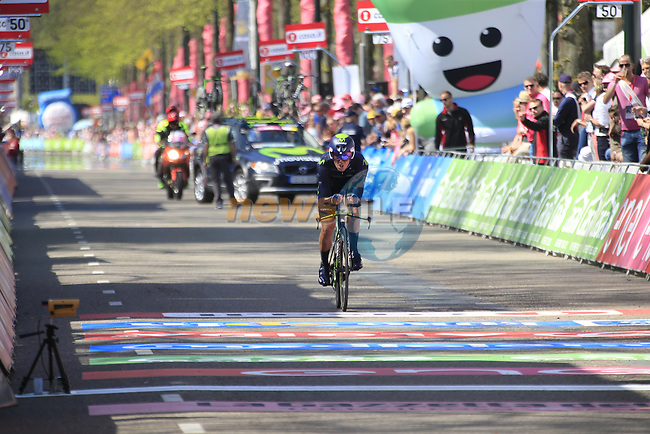 Javier Moreno (ESP) Movistar Team crosses the finish line of Stage 1 of the 2016 Giro d'Italia, an individual time trial of 9.8km around Apeldoorn, The Nethrerlands. 6th May 2016.<br /> Picture: Eoin Clarke | Newsfile<br /> <br /> <br /> All photos usage must carry mandatory copyright credit (&copy; Newsfile | Eoin Clarke)