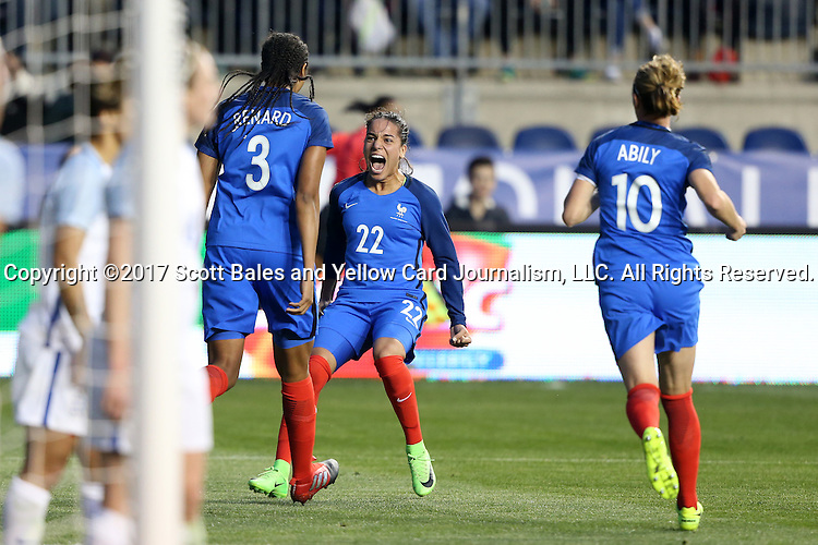 CHESTER, PA - MARCH 01: Wendie Renard (FRA) (3) celebrates her game-winning goal with Amel Majri (FRA) (22) and Camillie Abily (FRA) (10). The England Women's National Team played the France Women's National Team as part of the She Believes Cup on March, 1, 2017, at Talen Engery Stadium in Chester, PA. The France won the game 2-1.