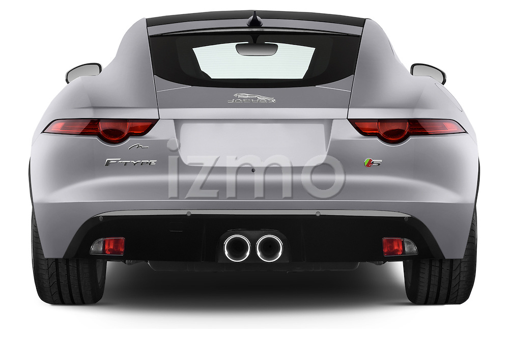 Straight rear view of a 2015 Jaguar F-Type S 3 Door Coupe 2WD Rear View  stock images