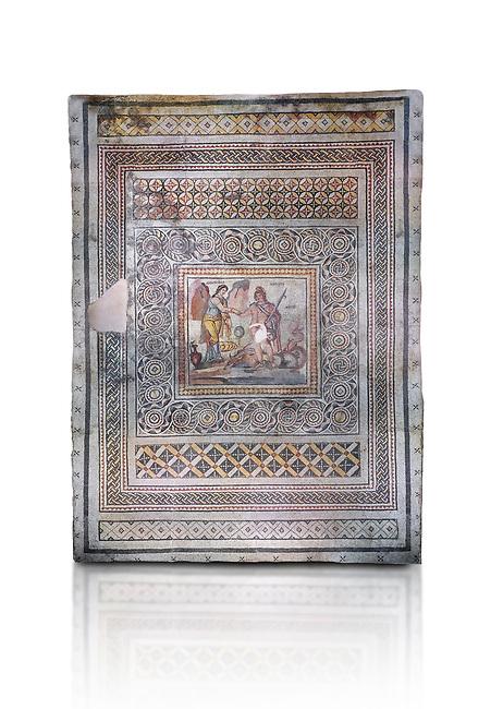 Roman mosaics - Persius & Andromeda Mosaic. Poseidon Villa Ancient Zeugama, 2nd - 3rd century AD . Zeugma Mosaic Museum, Gaziantep, Turkey.  Against a white background.