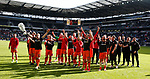 Sheffield Utd players and staff accept the acclaim of the fans during the English League One match at  Stadium MK, Milton Keynes. Picture date: April 22nd 2017. Pic credit should read: Simon Bellis/Sportimage