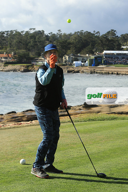 Actor Bill Murray (A) in action at Pebble Beach Golf Links during the third round of the AT&amp;T Pro-Am, Pebble Beach Golf Links, Monterey, USA. 09/02/2019<br /> Picture: Golffile | Phil Inglis<br /> <br /> <br /> All photo usage must carry mandatory copyright credit (&copy; Golffile | Phil Inglis)