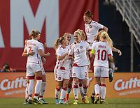 San Diego, Ca - Sunday, January 21, 2018: Nadia Nadim Goal Celebration  during a USWNT 5-1 victory over Denmark at SDCCU Stadium.
