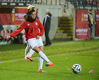 20151130 - LEUVEN ,  BELGIUM : Serbian Jasna Djordjevic pictured during the female soccer game between the Belgian Red Flames and Serbia , the third game in the qualification for the European Championship in The Netherlands 2017  , Monday 30 November 2015 at Stadion Den Dreef  in Leuven , Belgium. PHOTO DIRK VUYLSTEKE