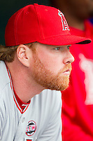 Tommy Hanson (48) of the Los Angeles Angels prior to the game against the Detroit Tigers at Comerica Park on June 25, 2013 in Detroit, Michigan.  The Angels defeated the Tigers 14-8.  (Brian Westerholt/Four Seam Images)