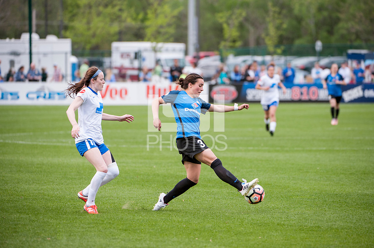 Kansas City, MO - Sunday April 16, 2017: Rose Lavelle, Christina Gibbons during a regular season National Women's Soccer League (NWSL) match between FC Kansas City and the Boston Breakers at Children's Mercy Victory Field.
