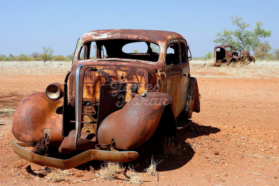 Vintage cars rust in the desert near the Stuart Highway, Northern Territory, Australia