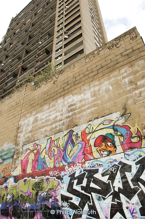 Graffiti below Trellick Tower in North Kensington, London.