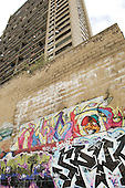 Graffiti below Trellick Tower in North Kensington, London.