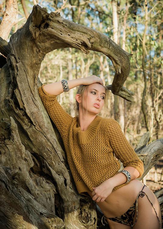 Anja from Mystique Model Management Photoshoot in Whites Hill Reserve, Brisbane, Queensland, Australia, Friday, March 18, 2016.<br /> Photo - @John Pryke Photographer<br /> Styling - Sandra Carvalho stylist<br /> MUA - @Danielle Rusko Makeup Artist Credits for Urban Jungle photoshoot <br /> Model Anja Christofferson from Mystique Models<br /> Photographer John Pryke http://johnpryke.com<br /> Mua Danielle Rusko www.daniellerusko.com.au <br /> Stylist Sandra Carvalho www.sandracarvalho.blog.wordpess.com <br /> <br /> Set 4<br /> Jumper from Billabong <br /> Swimmers bottoms Somedays loving<br /> Cuffs from Adorne