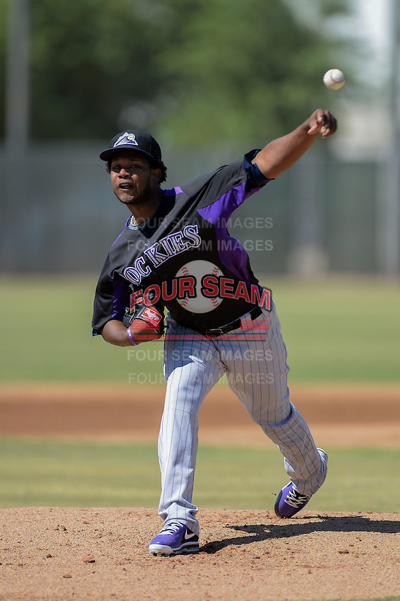 Colorado Rockies pitcher Jason Aquino (10) during an instructional league game against the Milwaukee Brewers on October 1, 2013 at Maryvale Baseball Park Training Complex in Phoenix, Arizona.  (Mike Janes/Four Seam Images)