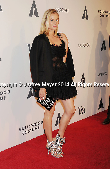 LOS ANGELES, CA- OCTOBER 01: Actress Diane Kruger attends The Academy of Motion Picture Arts and Sciences' Hollywood Costume Opening Party at the Wilshire May Company Building on October 1, 2014 in Los Angeles, California.