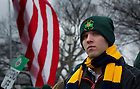 January 23, 2012; Notre Dame student at the 2012 March for Life in Washington, D.C. Photo by Barbara Johnston/University of Notre Dame