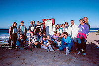 Jeffreys Bay, Eastern Cape, South Africa circa1991. <br /> Competitors line up on the sand dunes of Jeffreys Bay during the running Country Feeling Dream Sequence surf contest. The concept for the unique Dream Sequence event was created by former pro surfer Derek Hynd (AUS) and  was won by Luke Egan (AUS)  with the first prize being a block of land over looking the iconic surf break.  Photo:joliphotos.com